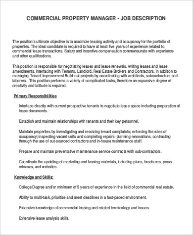 Commercial Manager Job Description Sample   Examples In Word Pdf