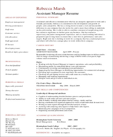 assistant manager retail resume