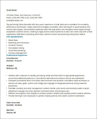 sales associate retail resume example