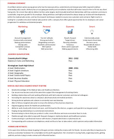 entry level medical sales resume - Sample Medical Resume