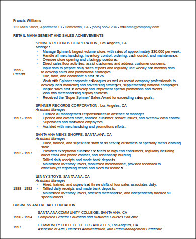 store manager retail resume