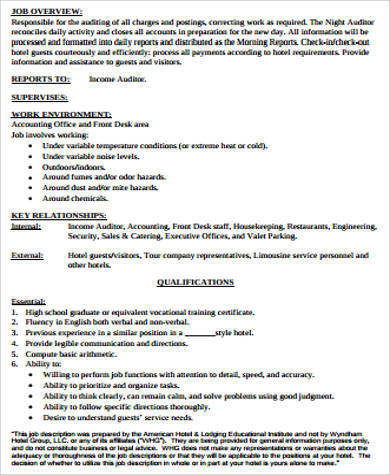 cashier night auditor job description