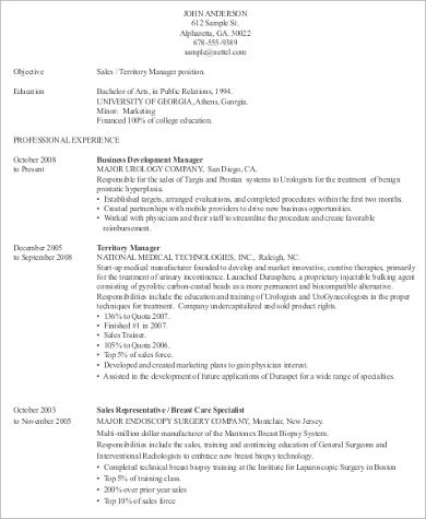 Sample Medical Sales Resume   Examples In Word Pdf