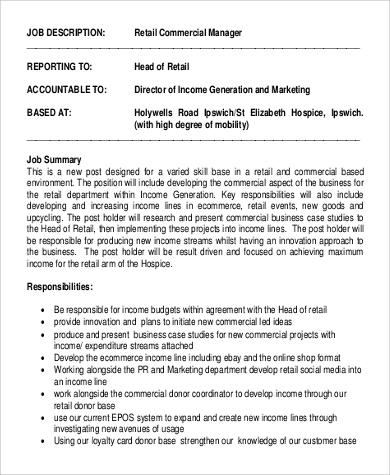 retail commercial manager job description format