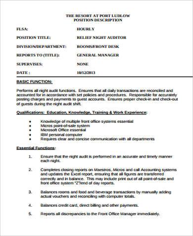 relief night auditor job description