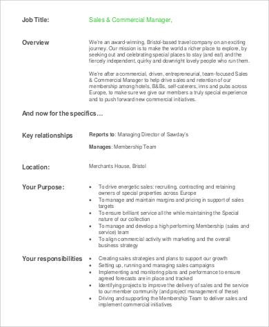 sales commercial manager job description
