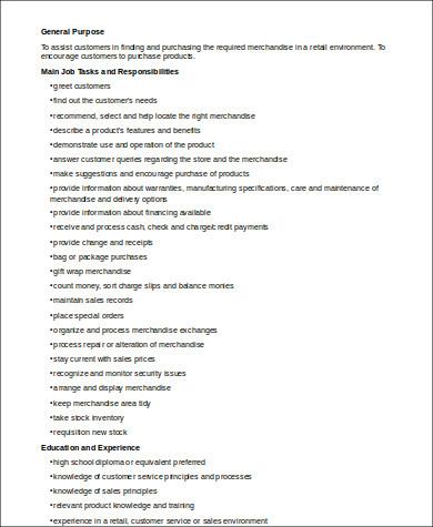 retail job description for resume