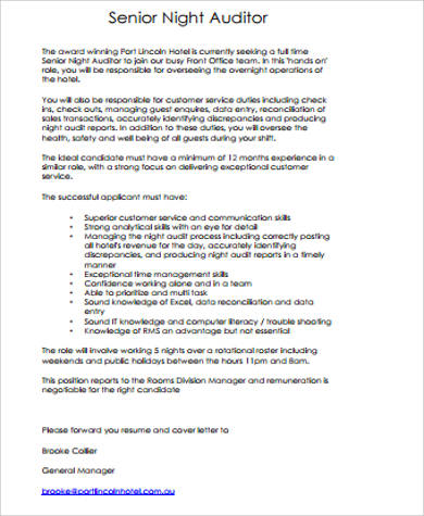 Night Auditor Job Description Sample  9 Examples in Word  PDF