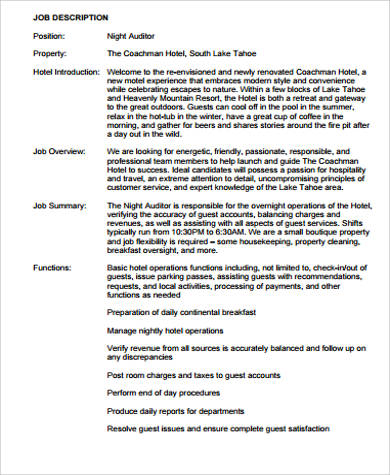 Night Auditor Job Description Sample - 8+ Examples In Word, Pdf