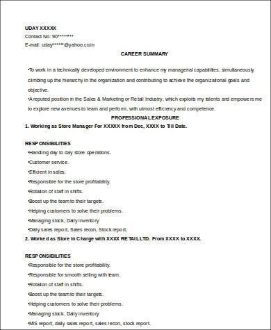 retail sales job resume sample