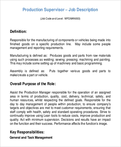 Production Supervisor Job Description Sample - 9+ Examples In Word