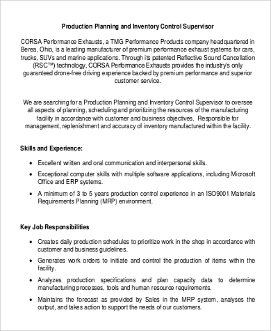 production planning supervisor job description in pdf