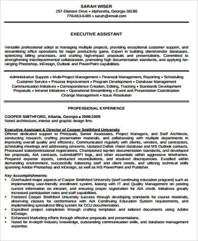 executive assistant resume pdf