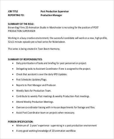 Production Supervisor Job Description Sample   Examples In Word