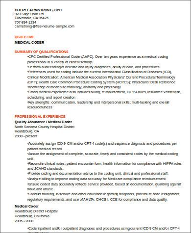 professional medical coder resume