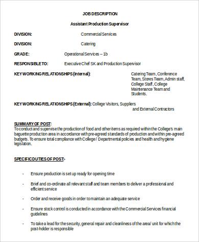 assistant production supervisor job description in word
