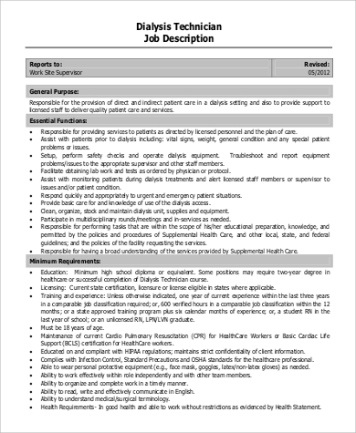 Patient Care Technician Job Description Sample - 9+ Examples In Pdf