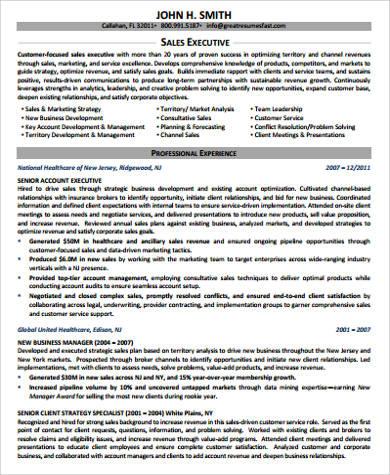 sample senior sales executive resume