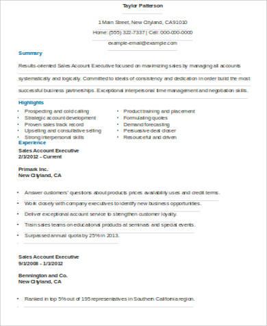 sales account executive resume
