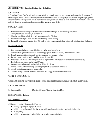 Patient Care Technician Job Description Sample   Examples In Pdf