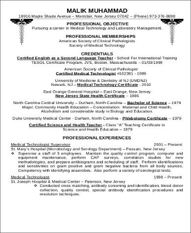 professional medical technologist resume pdf