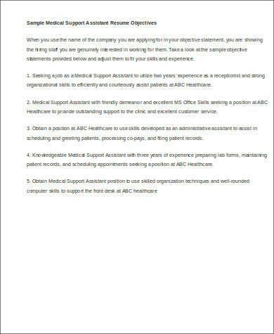 professional medical support assistant resume objective