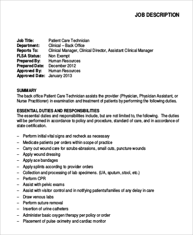 patient care technician job description sample 9 examples in pdf