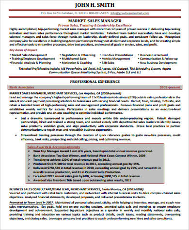 sales manager executive resume