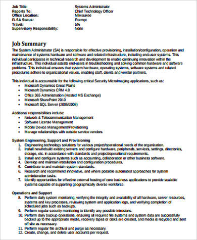 sample computer system administrator job description