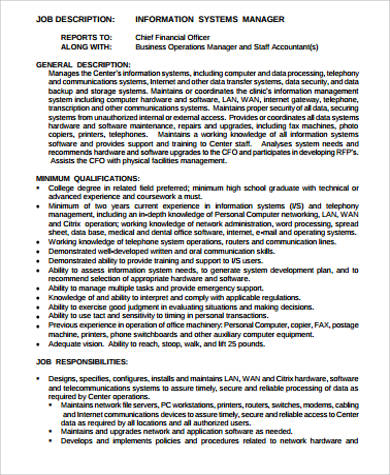 system administrator manager job description
