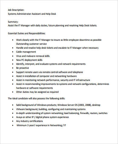 system administrator assistant job description