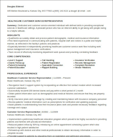 medical customer service representative resume