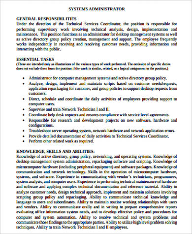 system application administrator job description