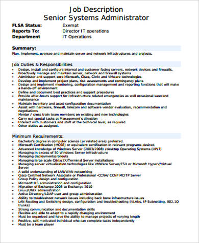 Sample System Administrator Job Description   Examples In Word Pdf