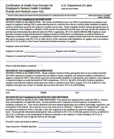8 Sample Family Medical Leave Act Forms Sample Templates