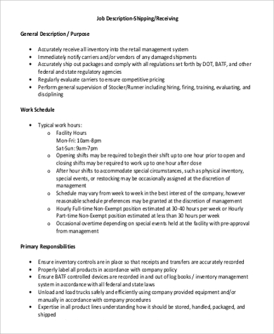 Shipping and Receiving Job Description Samples
