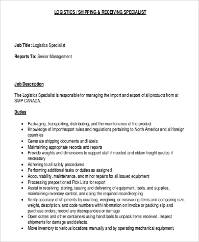 Shipping And Receiving Job Description Sample   Examples In Word Pdf