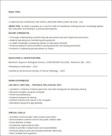 entry level medical technologist resume