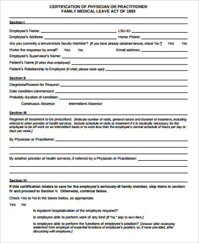 Sample Family Medical Leave Act Form   Examples In Word Pdf