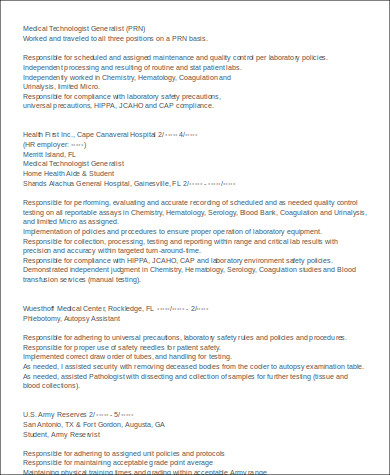 medical technologist generalist resume