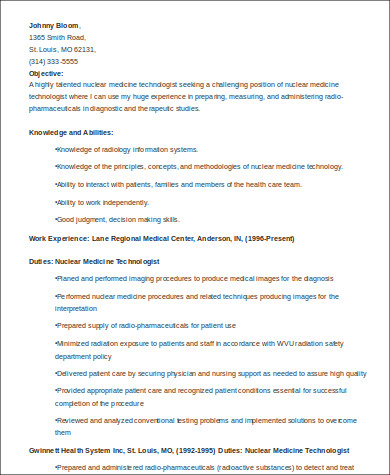 Sample Medical Technologist Resume   Examples In Word Pdf