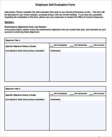 Sample Self Evaluation Form - 10+ Examples In Word, Pdf