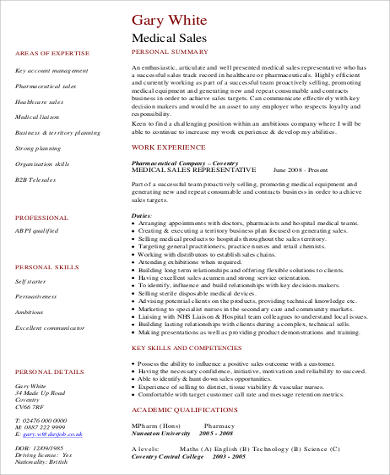 medical sales resume pdf