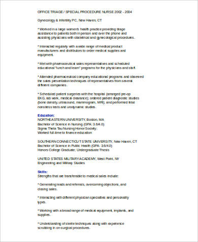 medical sales representative resume