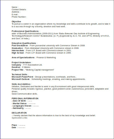 marketing executive resume for fresher