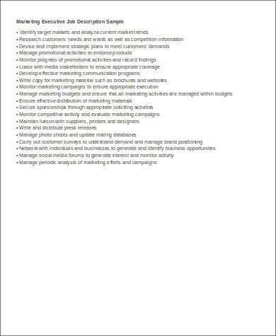 marketing executive job description resume