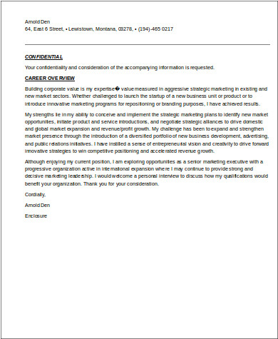 senior marketing executive resume cover letter