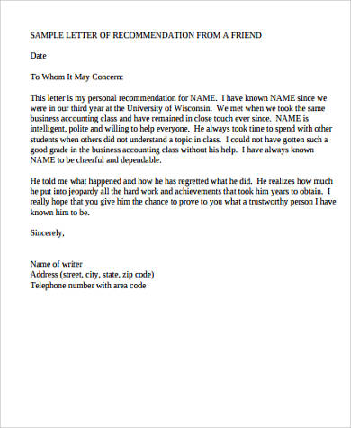 Sample Personal Letter Of Recommendation   Examples In Word Pdf