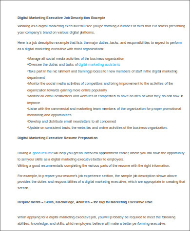 digital marketing executive job description example