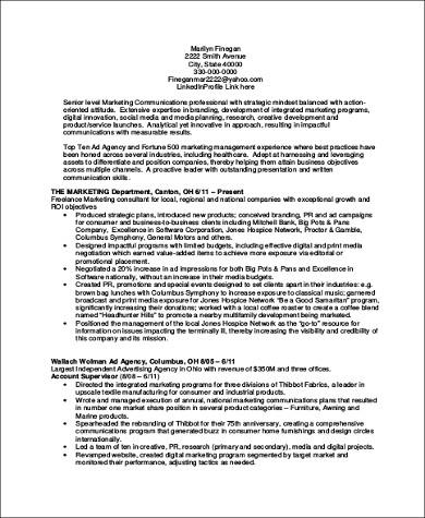 marketing communication executive resume